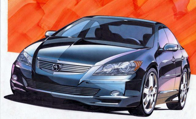 Front View 2004 Acura RL Concept Sketch Car Picture