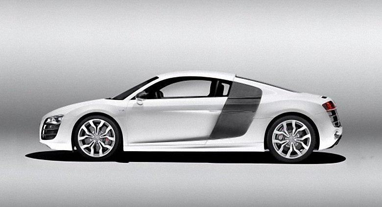 Left Side White 2009 Audi R8 Car Picture