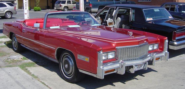 Front Right Red 1976 Cadillac Eldorado Convertible Car Picture