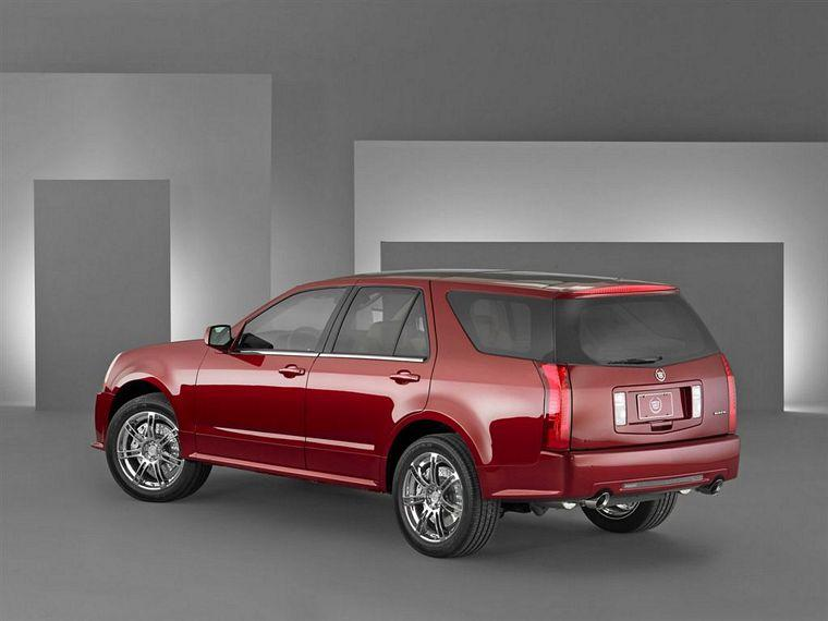 Rear left Red 2005 Cadillac SRX Sport SUV Picture