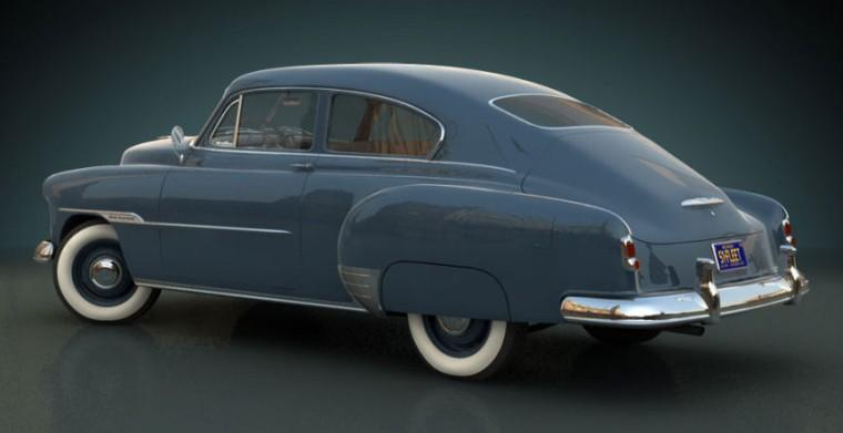Rear Left Blue 1951 Chevrolet Fleetline Car Picture