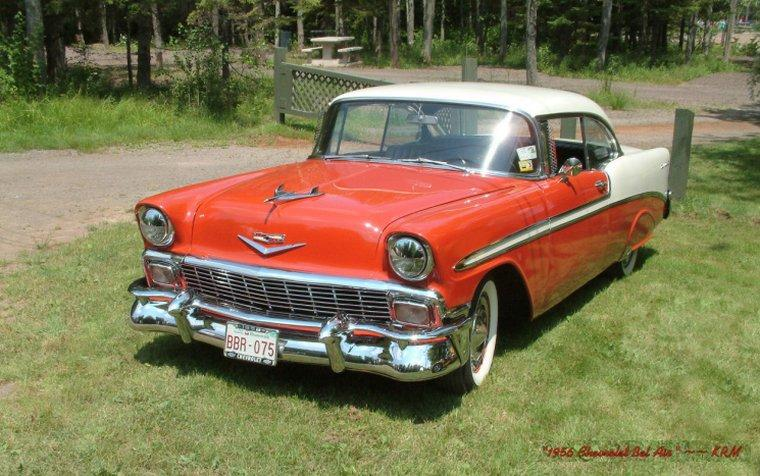 Front left Red and White 1956 Chevrolet Bel Air Car Picture
