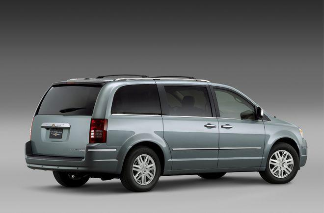 Rear Right Gray 2008 Chrysler Town and Country Minivan Picture