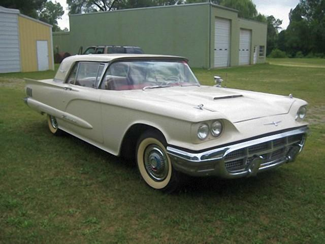 Front Right White 1960 Ford Thunderbird Car Picture