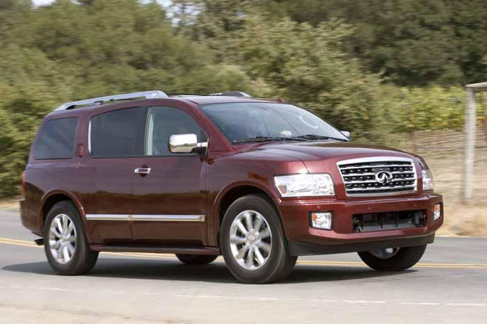 Front Right Maroon 2010 Infiniti QX56 SUV Picture