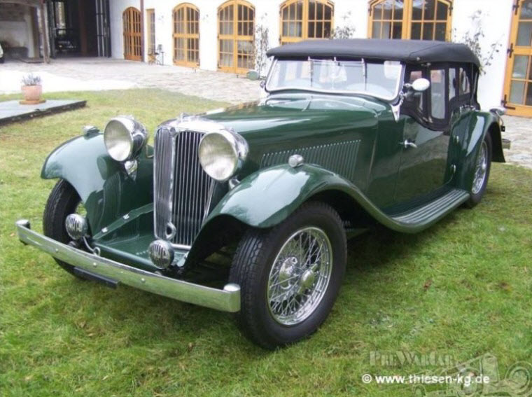 Front Left Green 1934 Jaguar SS Tourer Car Picture