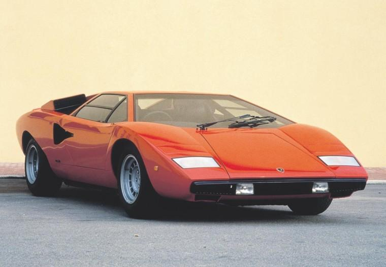 Front Right Orange 1976 Lamborghini Countach Car Picture