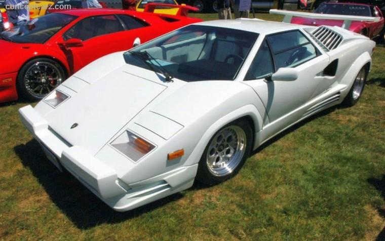 Left Top View White 1989 Lamborghini Countach 25th Car Picture