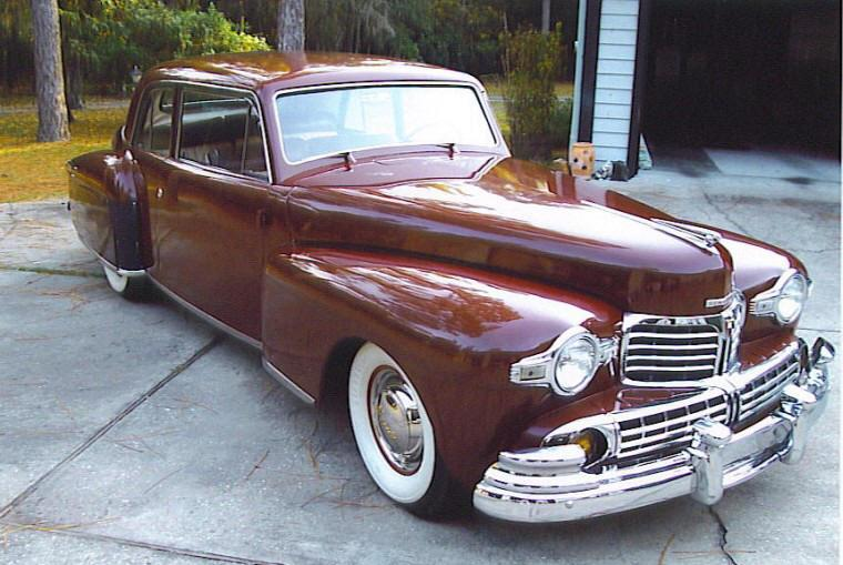 Front Right Maroon 1948 Lincoln Continental Car Picture