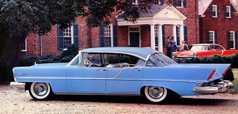 Left Side Blue 1957 Lincoln Premiere Landau Car Picture
