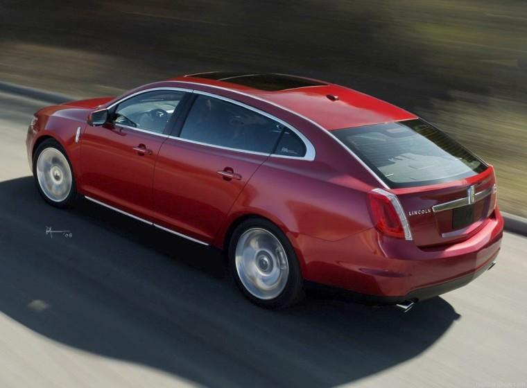 Rear Left Red 2009 Lincoln MKS Concept Car Picture