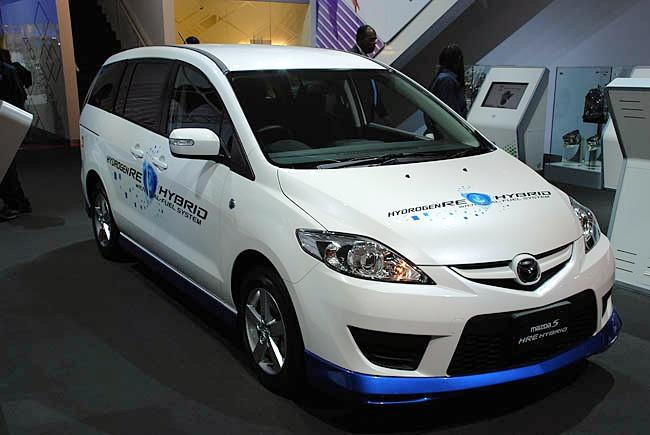 Front Right White 2009 Mazda 5 Hydrogen Car Picture