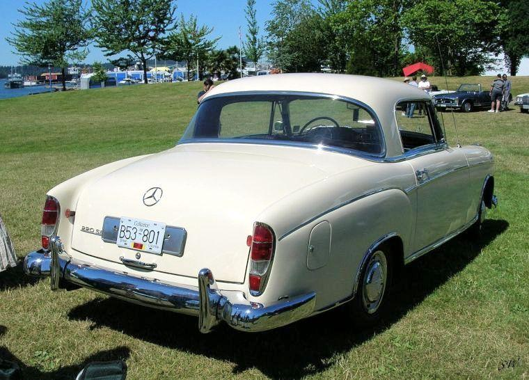 Rear Right White 1959 Mercedes-Benz 220SE Car Picture