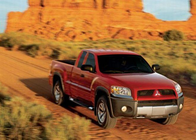 Front Right Red 2006 Mitsubishi Raider Truck Picture