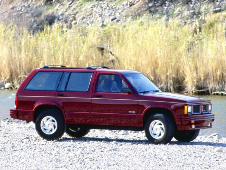 Right Side Maroon 1991 Oldsmobile Bravada SUV Picture