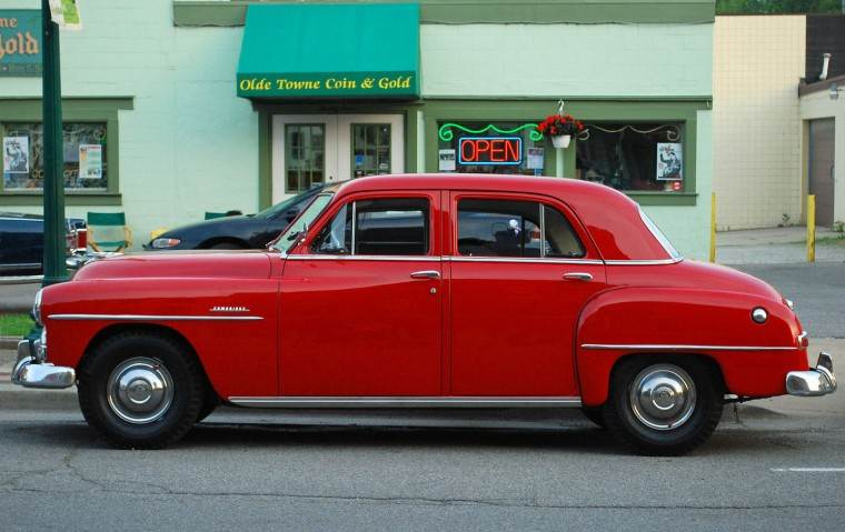 Left Side Red 1951 Plymouth Cambridge Car Picture