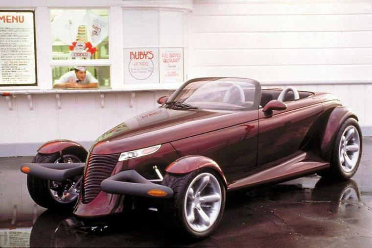 Front left Burgandy 1993 Plymouth Prowler Concept Car Picture