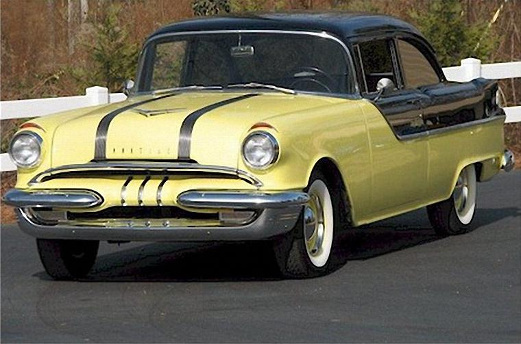 Front Left Yellow and Black 1955 Pontiac Chieftien Catilina Car Picture