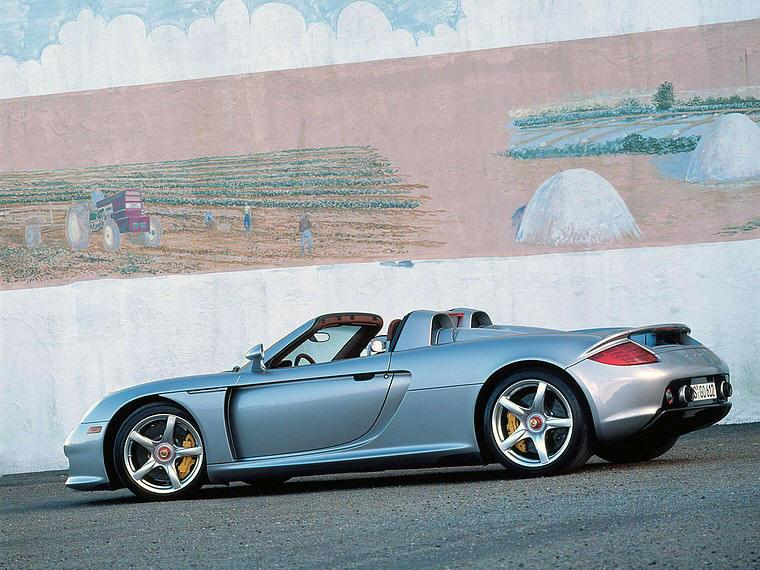 Left side silver Porsche Carrera GT Car Picture