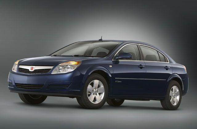 Front left blue 2008 Saturn Aura Greenline Car Picture