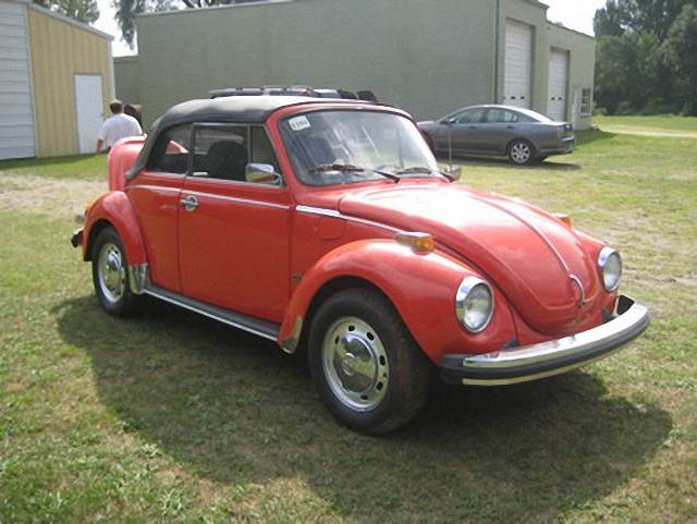 Front Right Red 1978 Volkswagen Beetle Convertible Car Picture